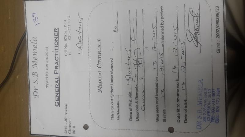 medical certificate for leave from doctor
